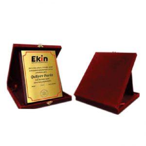 Plaque with velvet box