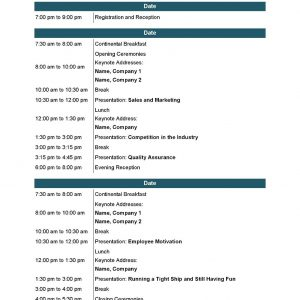 Conference Agenda A4 with color printing