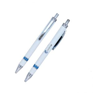 Plastic pen with silver button