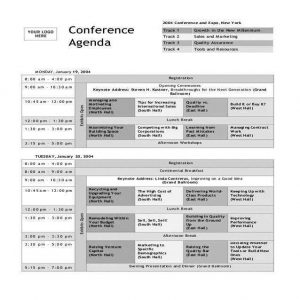 Conference Agenda A4 one color print