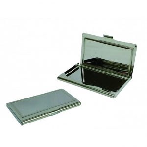 Business card holder with mirroring surface