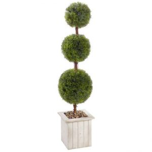 Decorative tree with three round trimmed tops