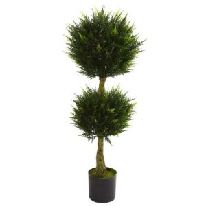 Decorative tree with two round trimmed tops