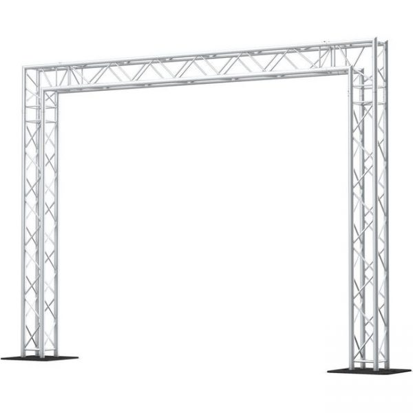 Goal post truss is used for flying lighting fixtures, TV Monitors and projectors/Box Truss from prolyte trusses. Can be used as exhibition booth, for flying lights or simply as a separate room covered by curtains./Truss totems for lighting includes: square truss 2m or 3m, base plate, top plate, led beam or led wash