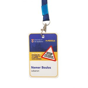 Badge laminated one side color printed 100x70mm