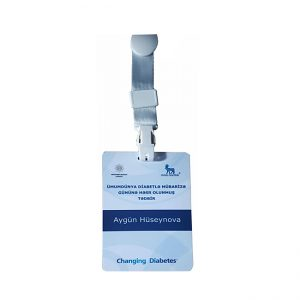 Badge laminated one side color printed 120x80mm