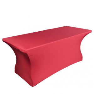 Red stretch tablecloth for rectangular table