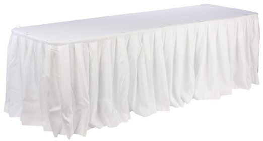 White banquet table skirt