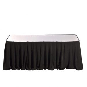 Black banquet table skirt